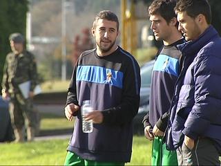 Pascual, en un entrenamiento del Vetusta.