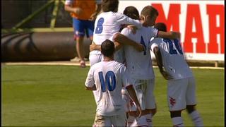 Los jugadores del Sporting B festejan el gol de Mendy
