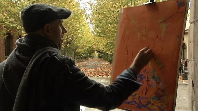 Uno de los participantes en el I Concurso de Pintura Rápida de la Fábrica de Armas de La Vega
