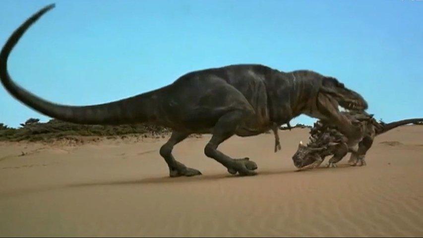 Recreación de dinosaurios peleando