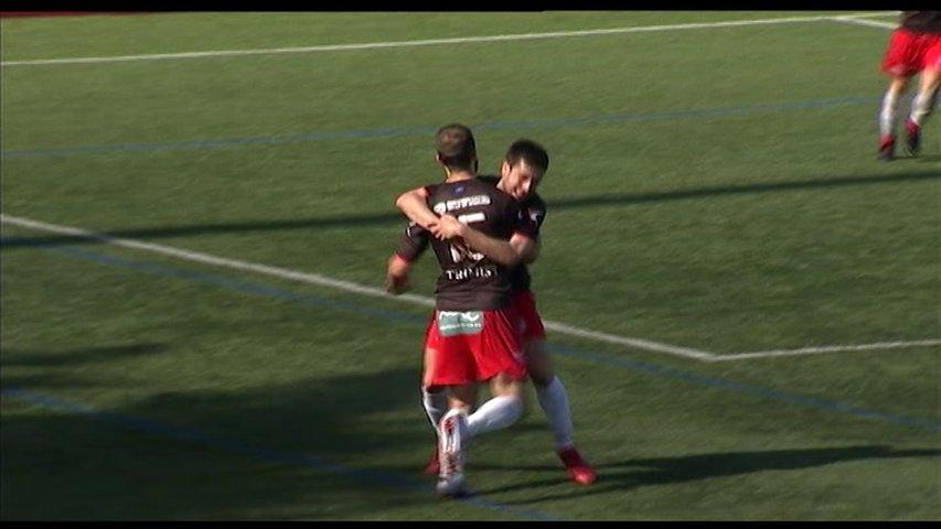 Los jugadores del Langreo celebrando un gol en la eliminatoria de play off