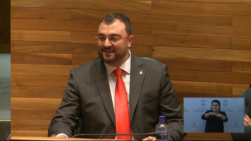 Adrián Barbón durante el pleno de investidura