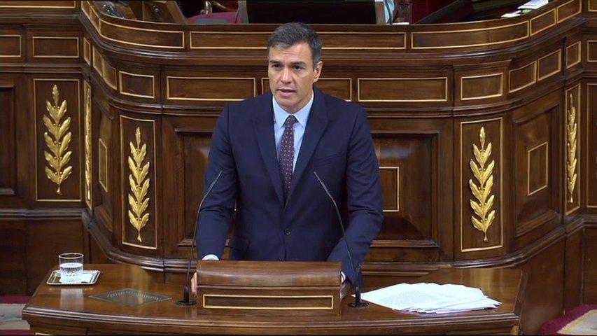 Pedro Sánchez en una intervencion en el Congreso de los Diputados