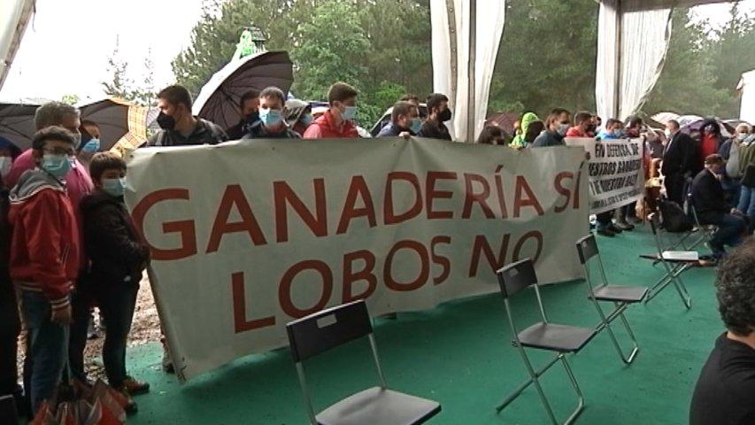 Protesta de ganaderos durante la inauguración de Asturforesta