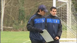 Pacheta, durante el entrenamiento del Oviedo
